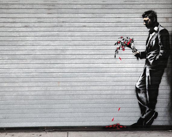 Banksy - Homme au bouquet de fleurs