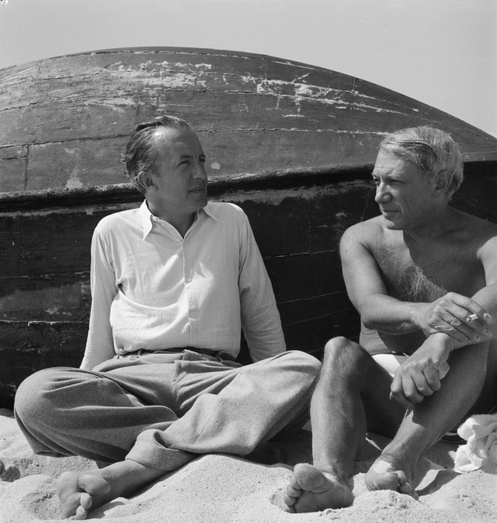 Photograph of Paul Eluard and Pablo Picasso on the beach Sep 1937 Eileen Agar 1899-1991 Presented to Tate Archive by Eileen Agar in 1989 and transferred from the photograph collection in 2012.