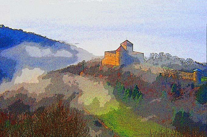 La retraite - Château des Allymes - peintographie Marius Bernard