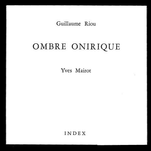 livre Ombre onirique - Guillaume Riou