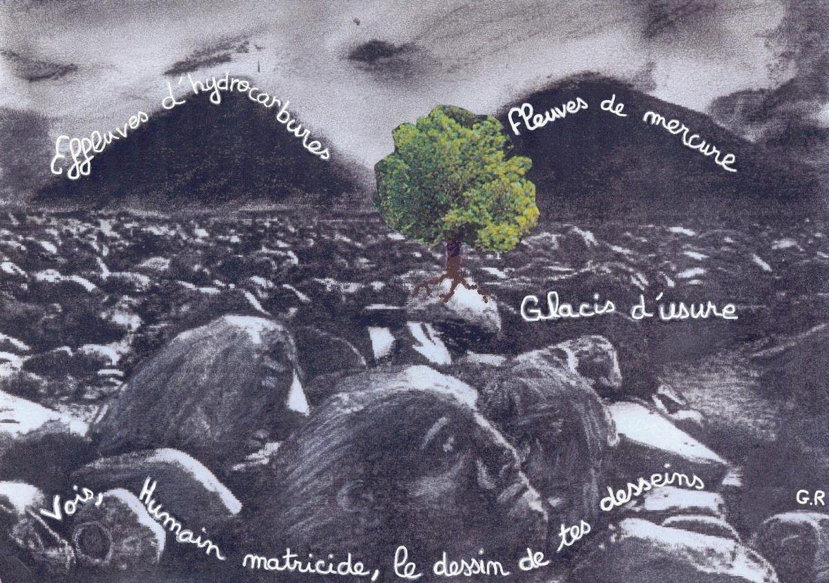 Vision - collage-dessin-poème de Guillaume Riou à partir d'une photo d'Ansel Adams