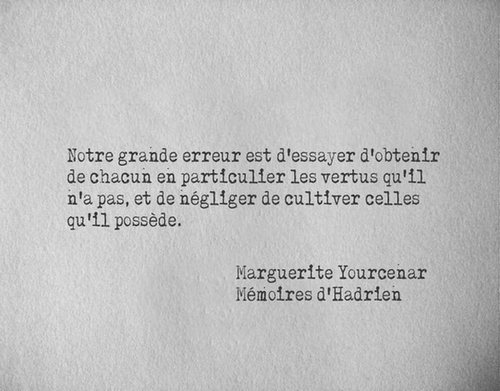 Citation Marguerite Yourcenar - Notre grande erreur